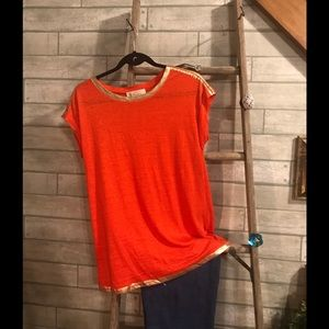 Michael by Michael Kors Orange Gold Trim Top Sz M
